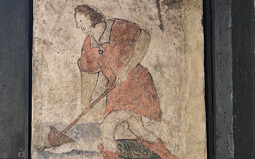 Wall painting of man digging, the Old House, Hereford, 1620s, detail (DP042325): © English Heritage